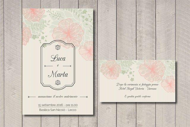 Partecipazione matrimonio floreale con targa