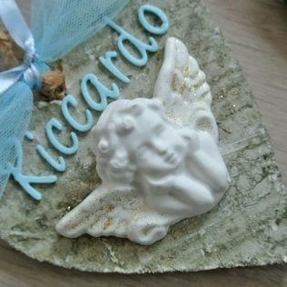 cuore legno angelo polvere ceramica fiocco nascita