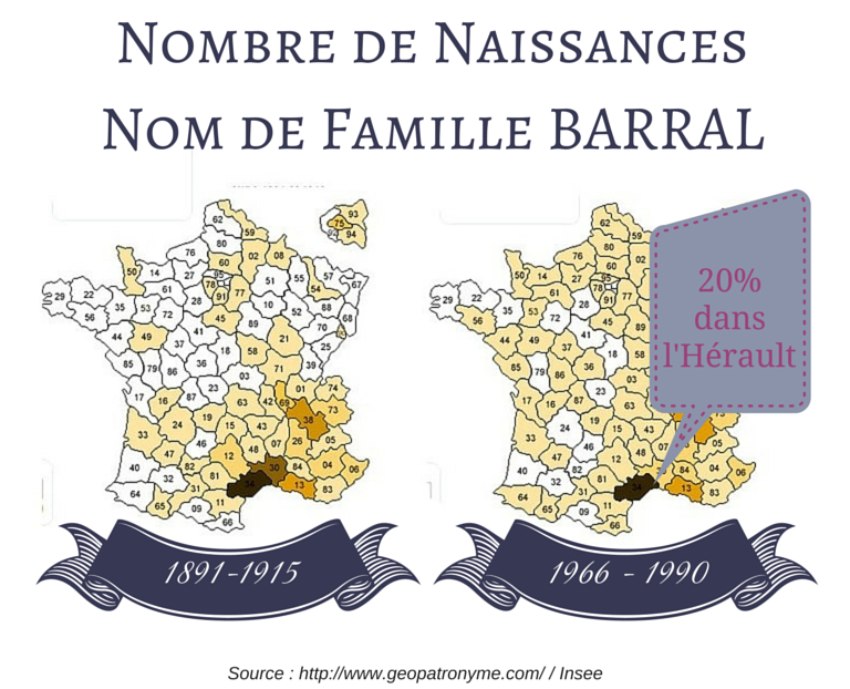 carte de statistiques en France par département pour le nom de famille Barral