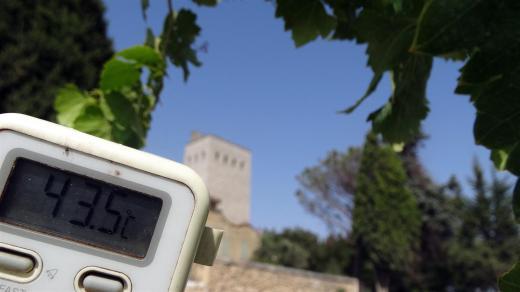 photo d'un thermomètre montrant les températures à Châteauneuf du Pape