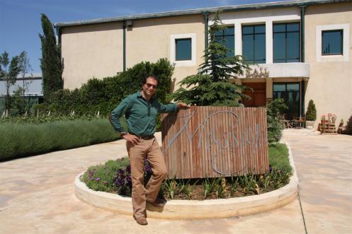 Photo of Sami Ghosn at the entrance of Massaya (Lebanon)