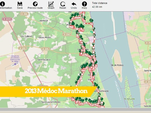 Médoc Marathon detailed Route Map
