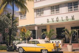 Car in Miami Beach Art Deco District
