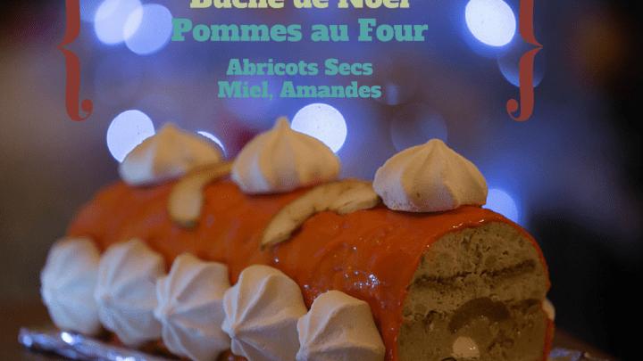 (Français) Bûche de Noël pommes au four, abricots secs, miel, amande