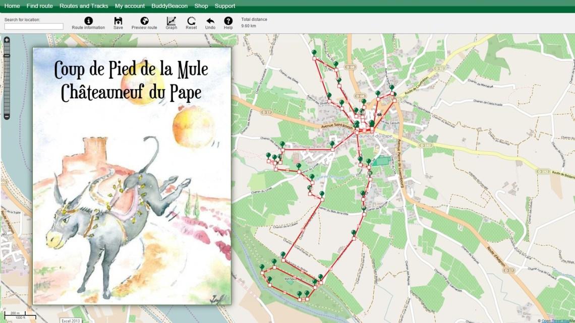 Coup de pied de la mule à Châteauneuf du Pape (traces GPS)