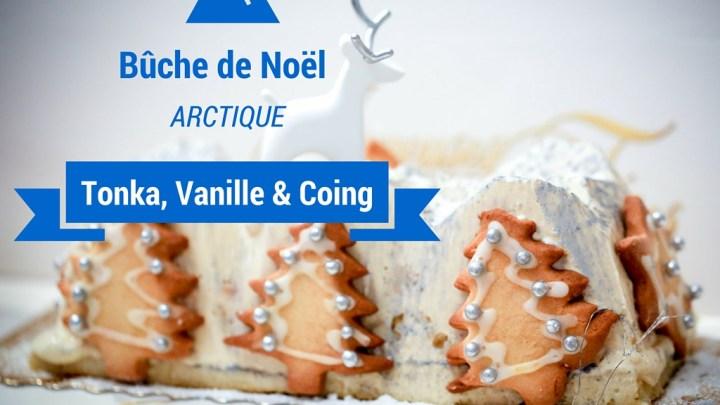 """Bûche de Noël """"Arctique"""" : Vanille tonka et coing"""