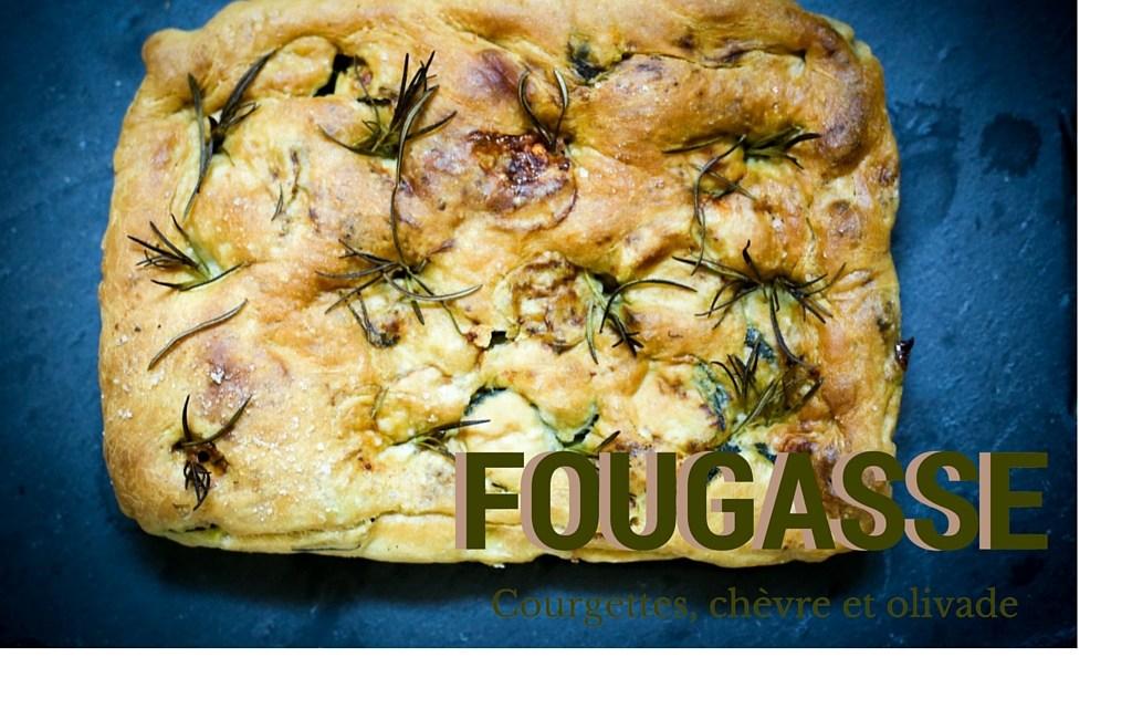 "Provençal picnic: Zucchini, Goat's Cheese & Black Olive flat bread (""fougasse"")"