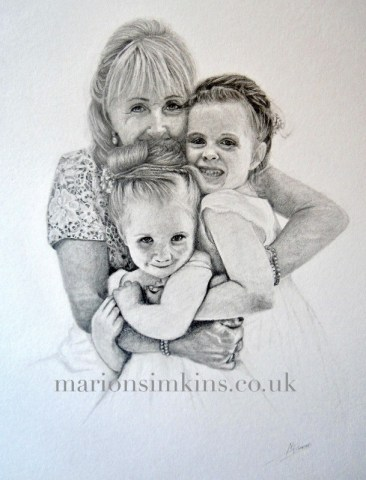Pencil drawing of Bride cuddling two little granddaughters her bridesmaids