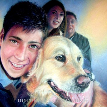 'Millie & Alan' is a primarily a portrait of a boy and his dog, in the background are two figures. The Portait has a lot of detail in the foreground with soft focus blues and yellows echoed in the background. Drawn in pastel.