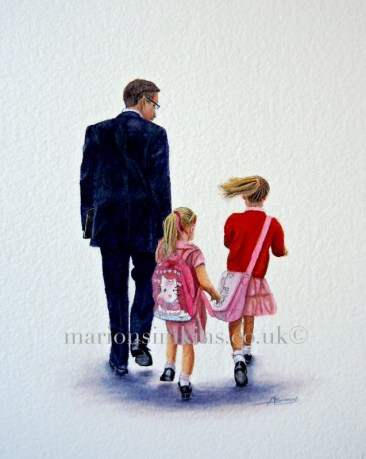 'School run' original watercolour figure painting of a Father walking his two young daughters to school. He is dressed in a suit gazing down over their heads. The girls have blonde hair tied in ponytails and wearing their summer school dress carrying their pink satchels