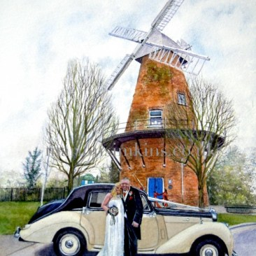 Commissioned watercolour painting of a newly married couple standing in front of Rayleigh Windmill with a white and black rolls royce wedding car in white with a black roof with wedding ribbons