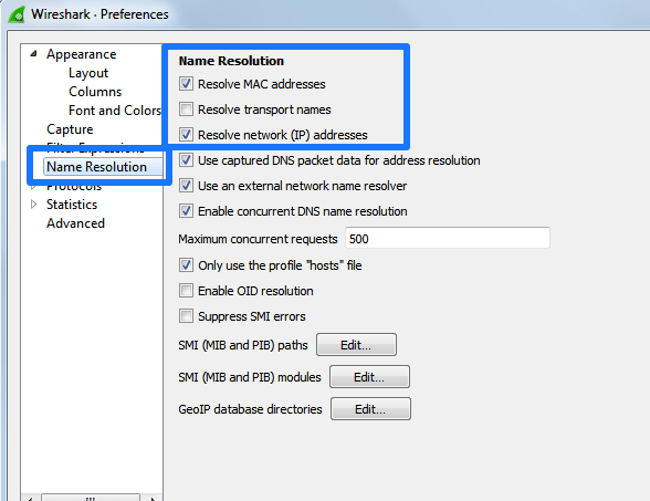 Wireshark Preferences