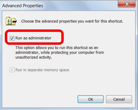 Run as admin