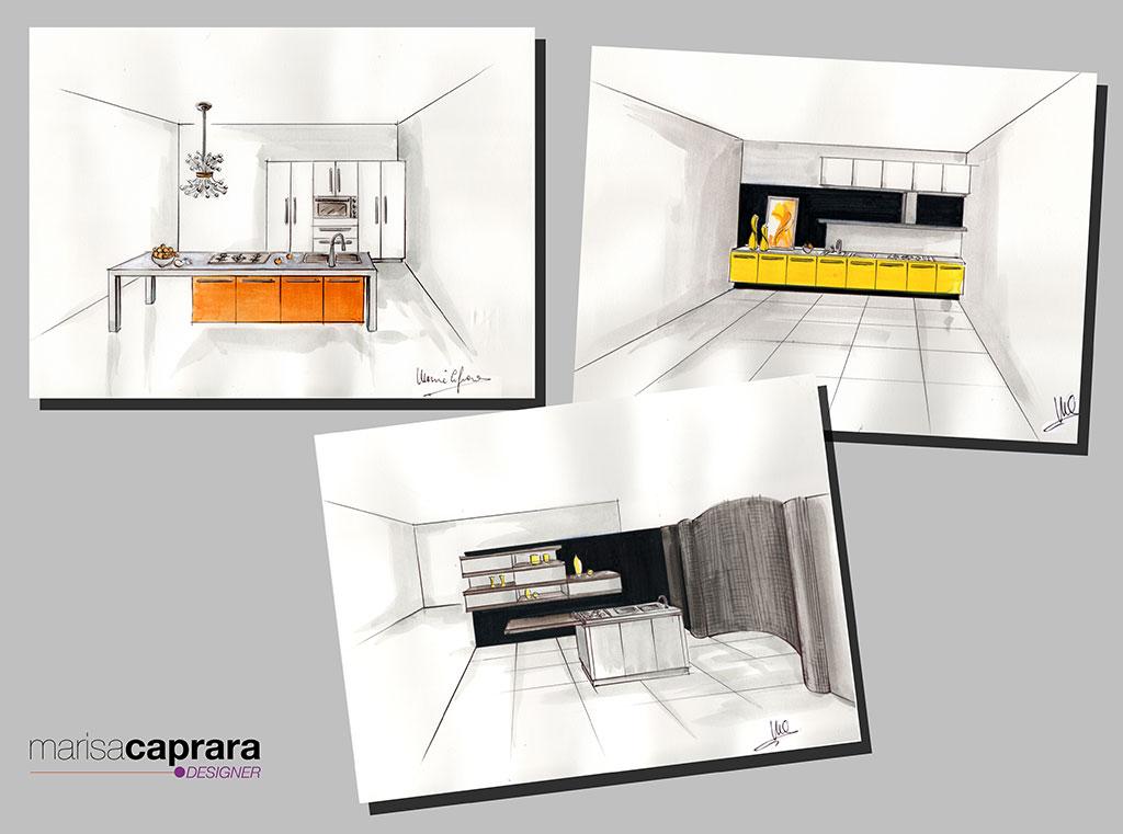 Progetti manuali ed in 3d di cucine marisa caprara designer for Interior design cucine