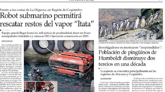 Robot submarino permitirá rescate de restos del vapor Itata