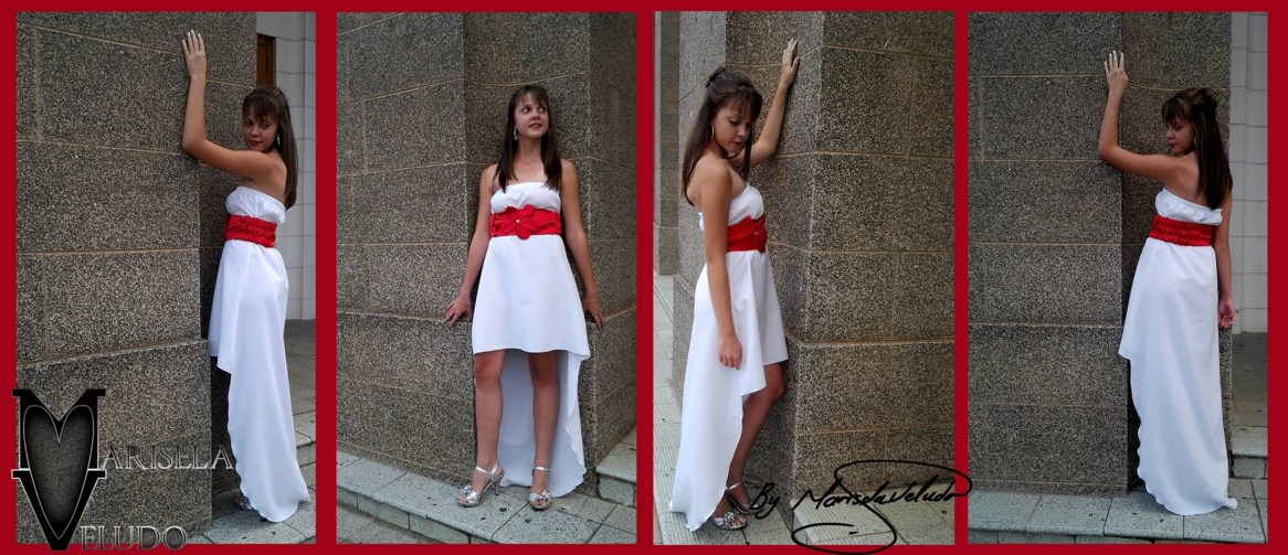 The Angelic Memory Collection was inspired through love and romance, through its complexity, Marisela found simplicity. Elegant and simple dresses in white with a touch of red by accessorizing with a belt. With different hi-lo hemlines.