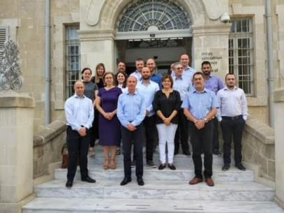 """MaRITeC-X """"family"""" photo at the stairs of the historic building of the old Ottoman Bank, now House of Arts and Literature, in Larnaka, Cyprus"""