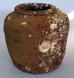 brown-glazed jar
