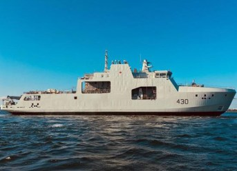 The future HMCS Harry DeWolf, the first of Canada's Arctic and Offshore Patrol Vessels to be built, floats for the first time following the ships launch today in Halifax Harbour.
