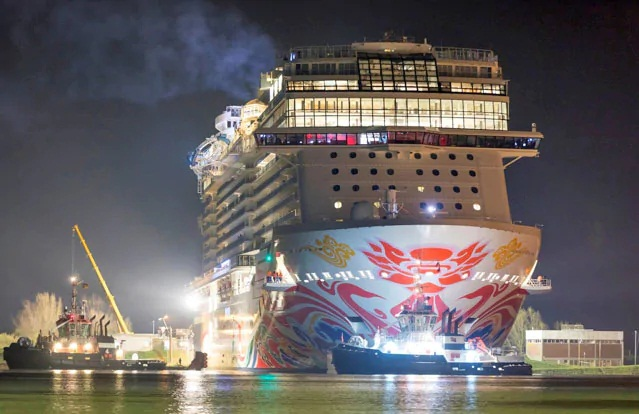 Norwegian Joy Begins Her Journey To China With Conveyance Along The Ems River 1