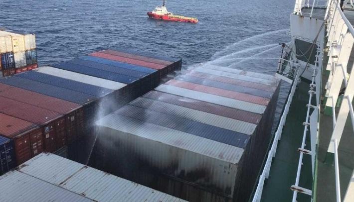 APL Vancouver Fire Under Control off Vietnam 1