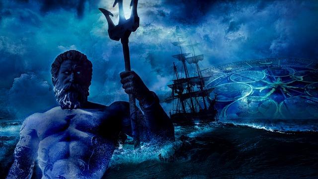 Poseidon - the god of the sea, storms and earthquakes built the city of Atlantis.