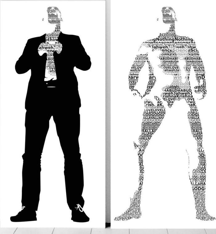 De Verhulde Waarheid & De Naakte Waarheid (The Concealed and Naked Truth). gelamineerde unieke prints 1.80/ 1.65/ tweeluik Een filosofische kijk op het geloof, de eeuwige strijd tussen het geloof en ongeloof en de religies onderling . De innerlijke strijd in de hoofden en harten van mensen en de fysieke strijd die op leven en dood wordt uitgevochten. Mensen zoeken naar waarheden omdat dat houvast en kaders biedt . Maar waarom dringt het zich dan vaak zo op, de waarheid is toch zeker absoluut? Of is het geloof vervuld van heimelijke twijfels en onzekerheden. Wat of wie moet je eigenlijk geloven.