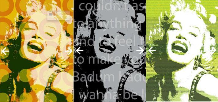 Voorbeelden van gecutomized behang/in dit geval Marylin Monroe als aansprekend icoon.