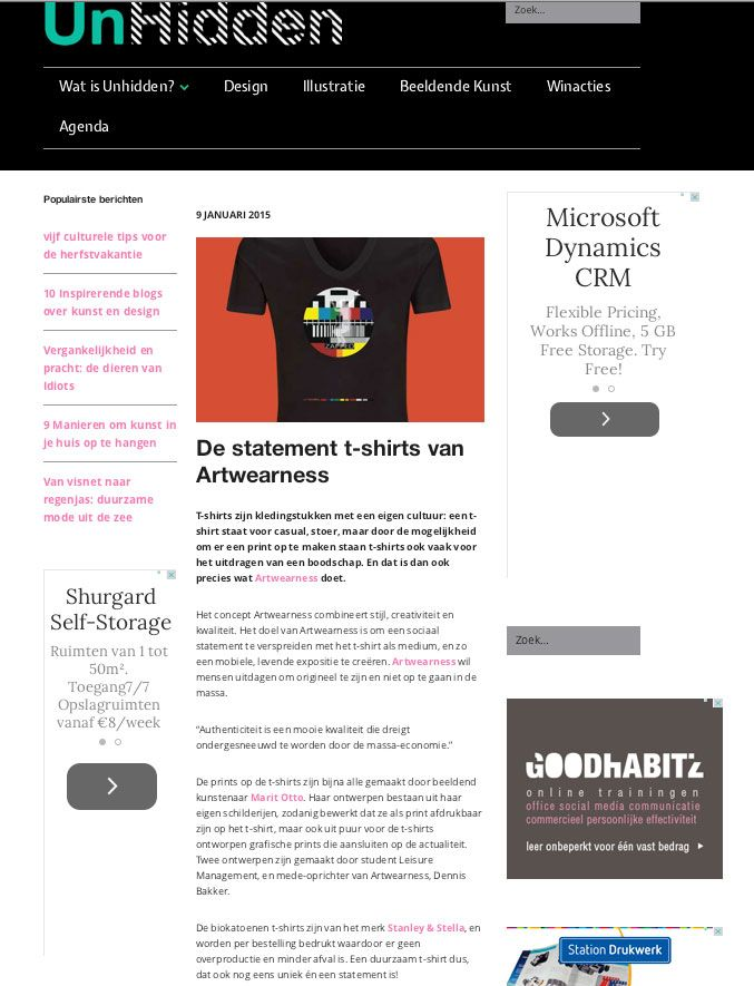 publicatie over Artwearness op blog Unhidden