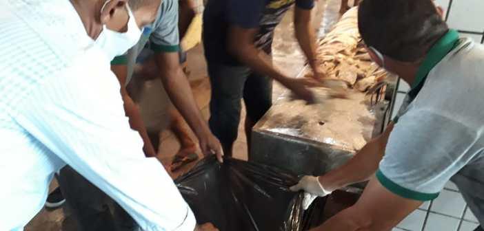 Equipe de fiscalização da Sedap apreende e descarta mais de 40 kg de pescado estragado em Marituba