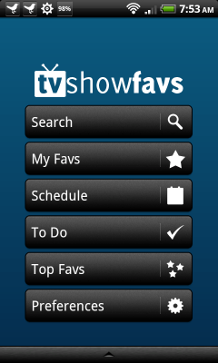 TV Show Favs home screen