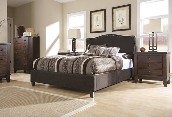 Kasidon Brown Upholstered Queen Bed Marjen Of Chicago