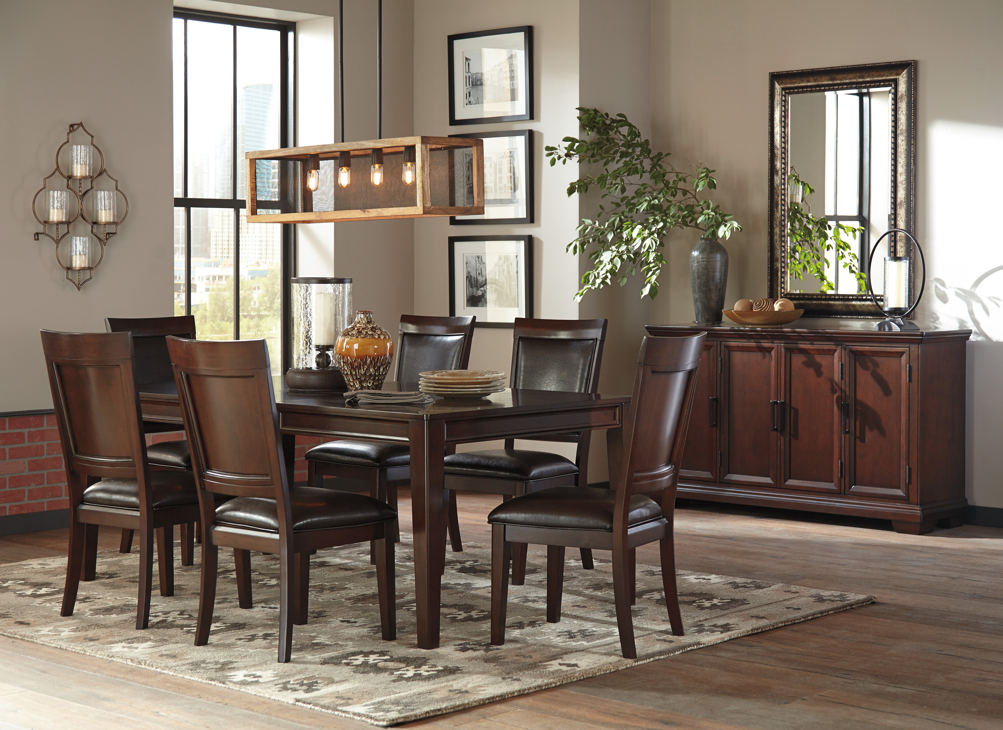 Ashley Shadyn 7 Piece Casual Dining Room Set In A Warm Brown Finish WRemovable 18 Extension