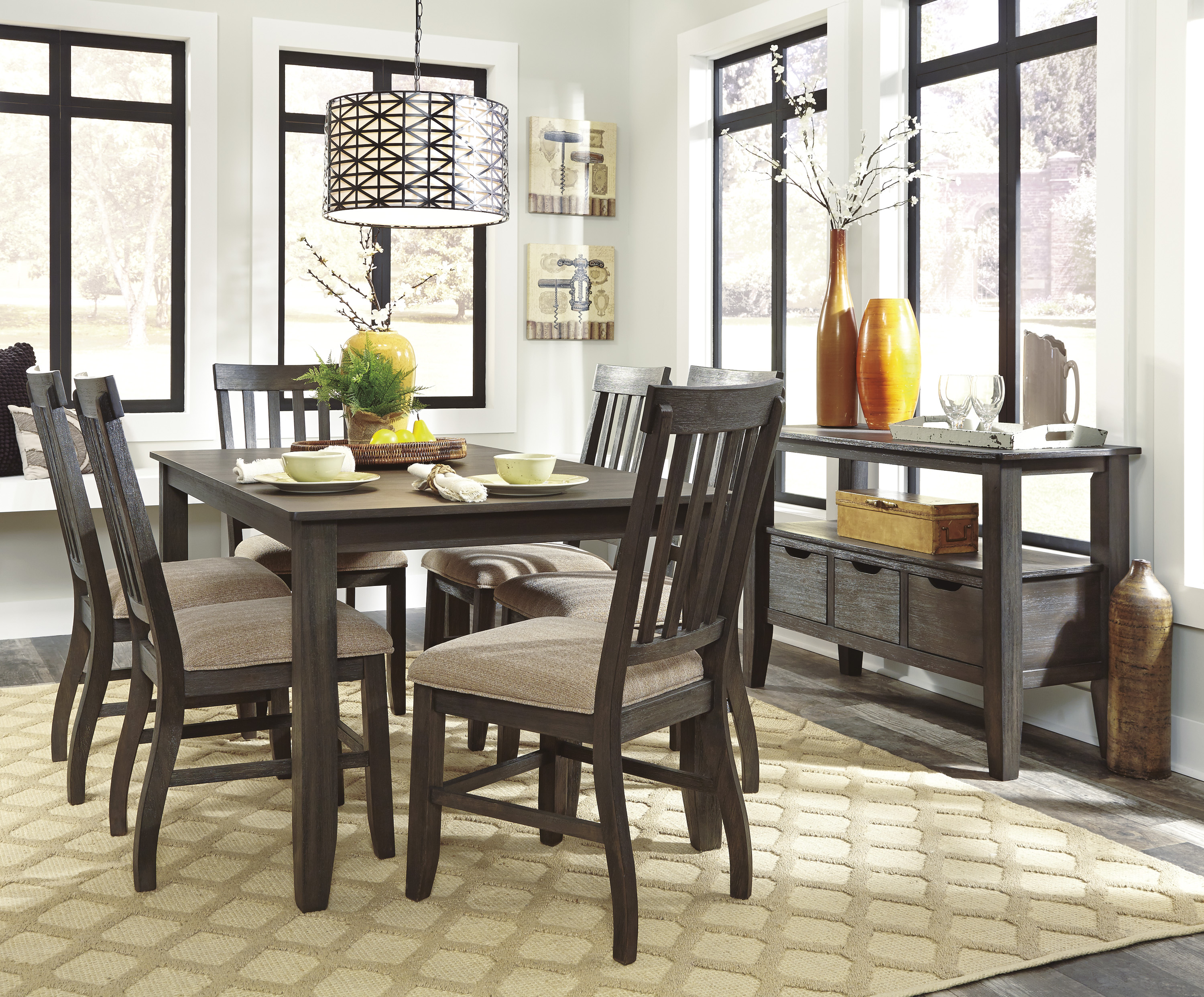 dresbar urbanology grayish brown 7pc rectangle dining room on dining room sets on clearance id=51596
