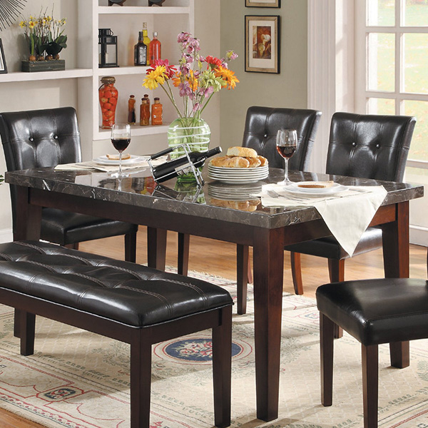 Decatur 5 Piece Marble Top Dining Set With Optional Bench