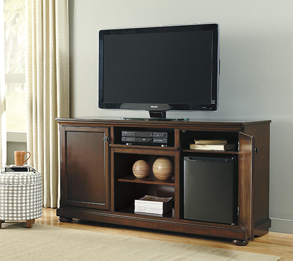 Signature Design By Ashley Porter Rustic Brown Extra Large TV Stand With Fireplace And Electric