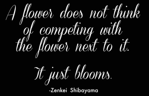 A flower does not think of competing with the flower next to it. It just blooms. Baruch Spinoza