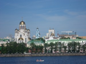 Church upon the Blood rises over Yekaterinburg's City Pond