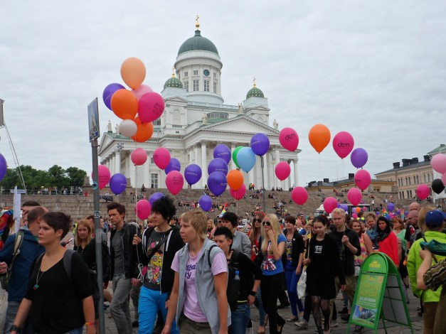 Gay Pride in front of the Helsinki Cathedral