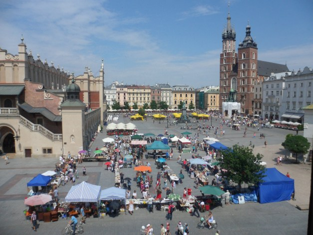 The view from our hotel room -- Rynek Glówny, the largest medieval square in Europe