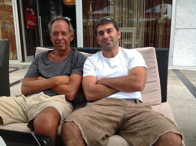 Jim and Rezart at coffee stop in Podgorica