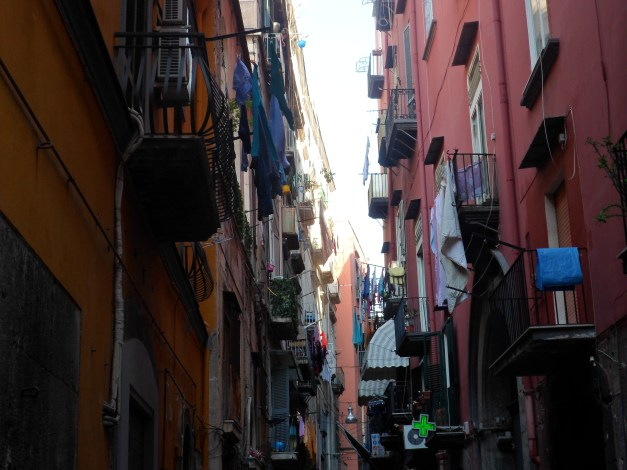 There's a lot of laundry hanging in the narrow streets