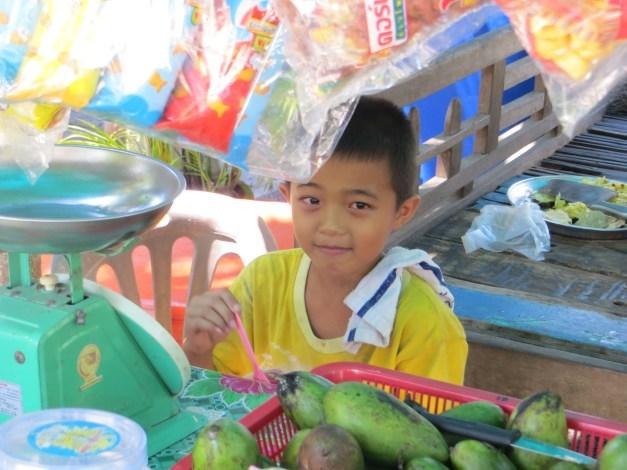 Cute kid in a shop