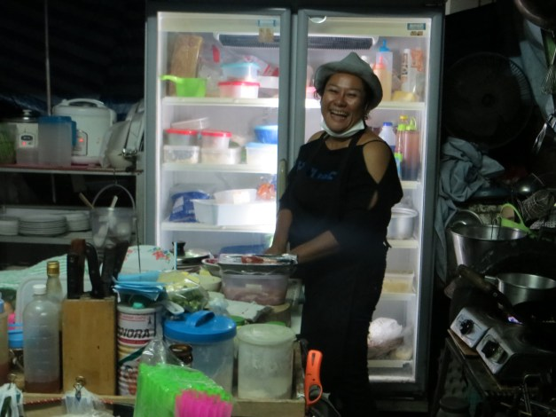 The cook in her kitchen. They greeted us almost like family by the third night.