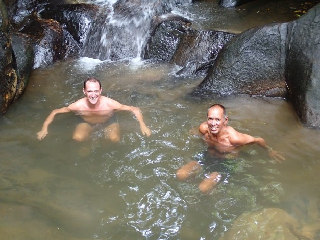 Mark & Jim in the pool of a small waterfall