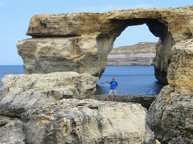 That's Jim underneath the 'Azure Window' along Gozo's stunning Dwerja Bay