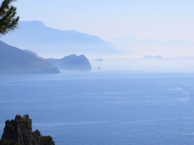 A morning view across to the Sorrento peninsula and the Amalfi Coast beyond