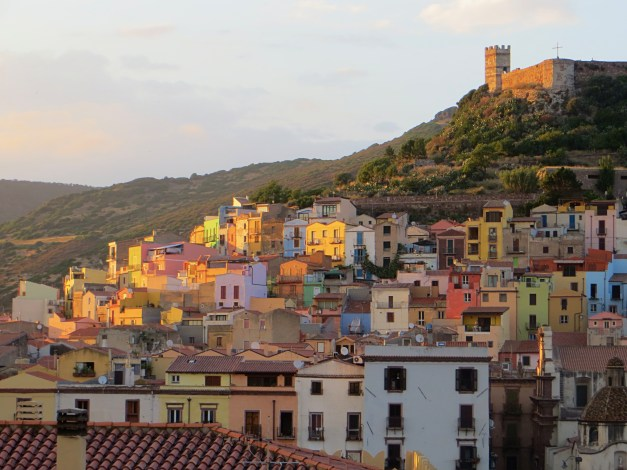 OK, one more of my endless photos of Bosa, this one at dusk from our hotel terrace