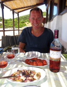 Lunch at the beach today started with an octopus salad and dogfish all'algherese
