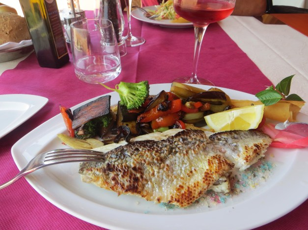 Lunch at a beachside restaurant featured grilled fish with amazing grilled vegetables